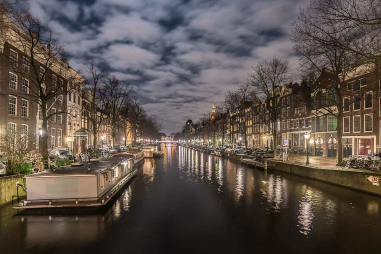 Amsterdam Night Clouds Water